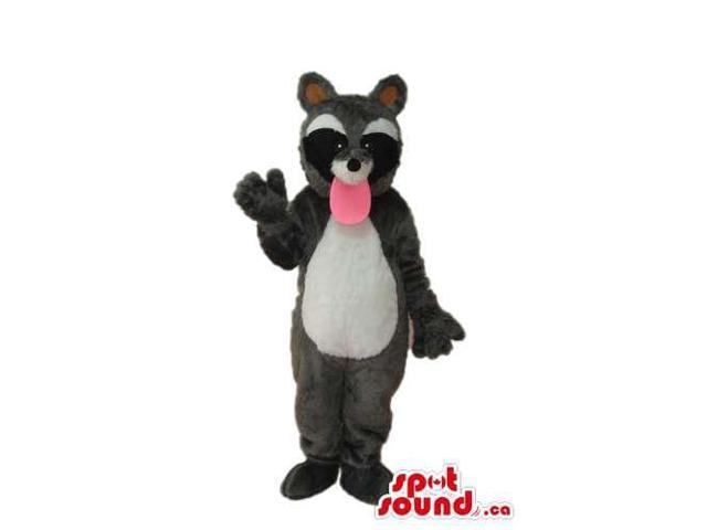 Grey And Black Raccoon Canadian SpotSound Mascot With A Long Pink Tongue