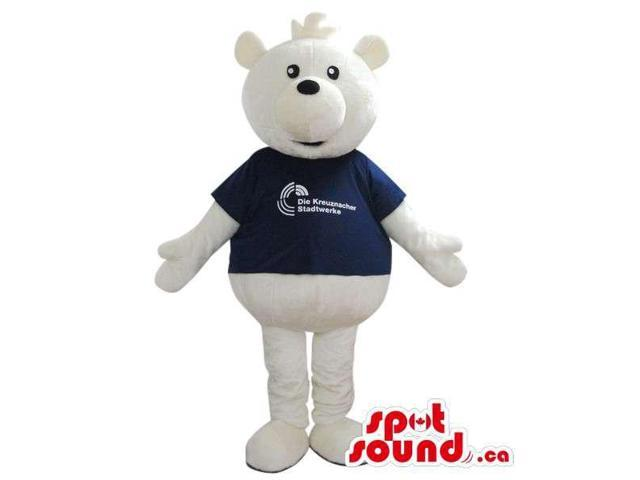 White Bear Plush Canadian SpotSound Mascot Dressed In A T-Shirt With Logo And Text