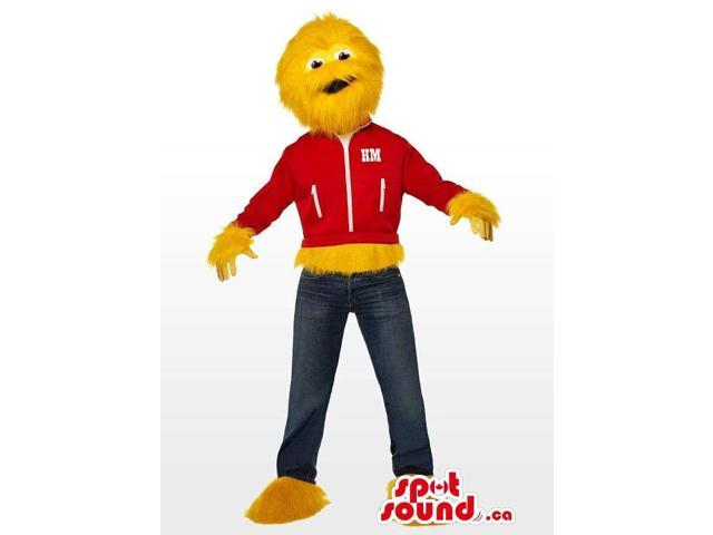 Yellow Monster Character Plush Canadian SpotSound Mascot Dressed In Street Gear