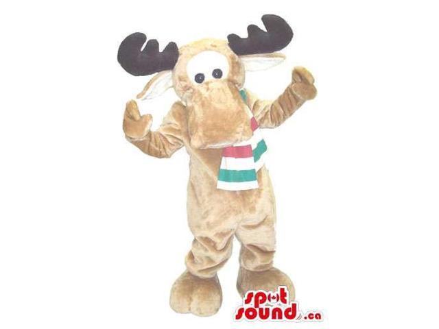 All Brown Reindeer Plush Canadian SpotSound Mascot Dressed In A Striped Scarf