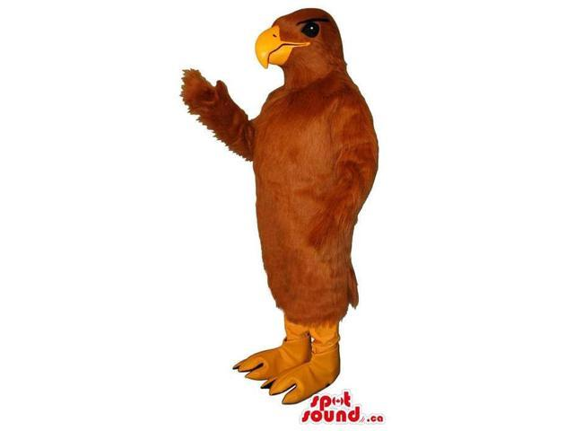 All Brown Customised Bird Canadian SpotSound Mascot With Orange Curved Beak