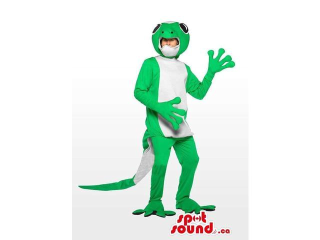 Awesome Green And White Lizard Plush Costume Canadian SpotSound Mascot