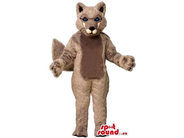Grey Customised All Wolf Animal Canadian SpotSound Mascot With White Mouth