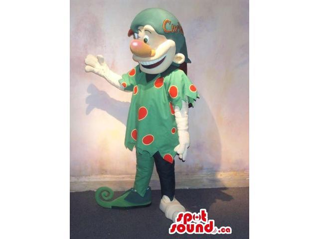 Dwarf Character Canadian SpotSound Mascot In Green Gear With Red Dots