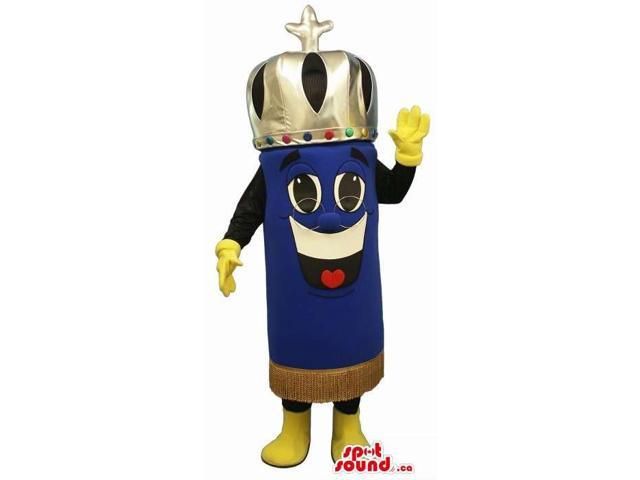 Blue Cylinder Plush Canadian SpotSound Mascot With Peculiar Face Dressed In A Golden Crown