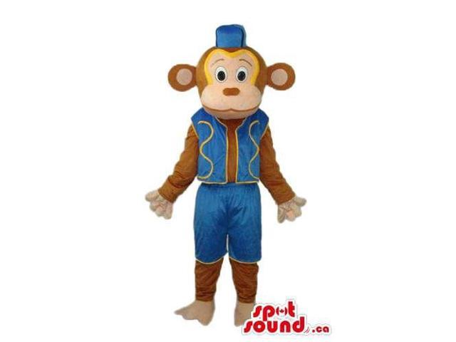 Brown Monkey Animal Canadian SpotSound Mascot Dressed In Circus Blue Gear