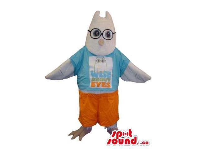White Customised Bird Canadian SpotSound Mascot Dressed In Glasses And T-Shirt