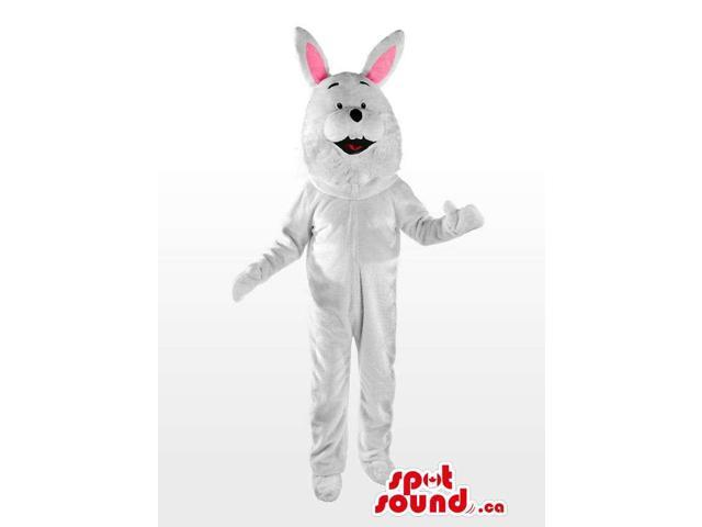 All White Rabbit Animal Plush Canadian SpotSound Mascot With Pink Ears