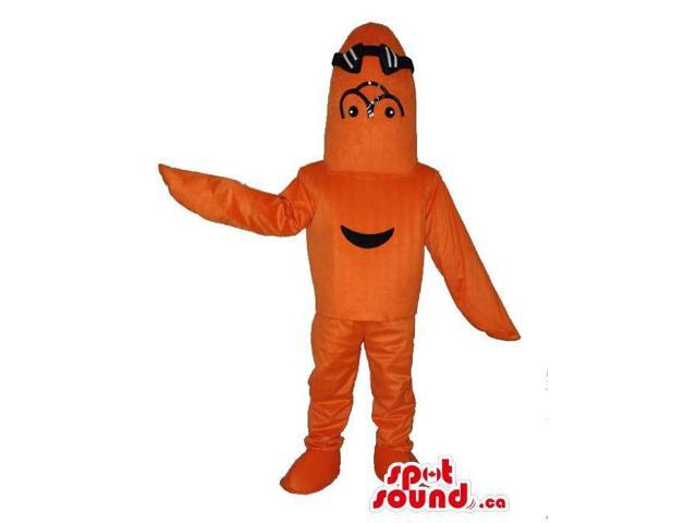 Orange Fish Plush Canadian SpotSound Mascot With Black Swimming Goggles