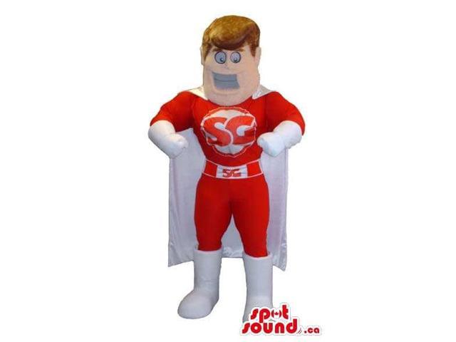 Red And White Customised Super Hero Canadian SpotSound Mascot With Cape
