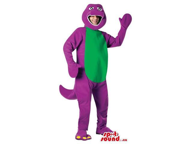 Cool Purple And Green Dinosaur Adult Size Plush Costume Or Canadian SpotSound Mascot