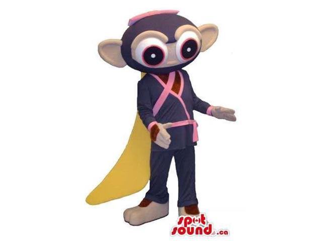 Fairy-Tale Monkey Plush Canadian SpotSound Mascot Dressed In Martial Art Gear And Cape