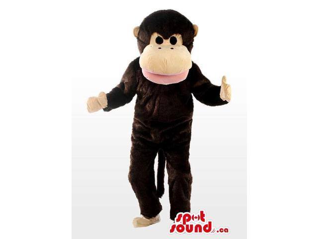 Dark Brown Plush Monkey Canadian SpotSound Mascot With A Large Beige Face