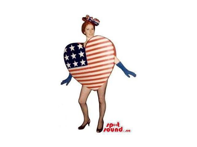 Special Heart-Shaped Us Flag Canadian SpotSound Mascot Or Adult Costume