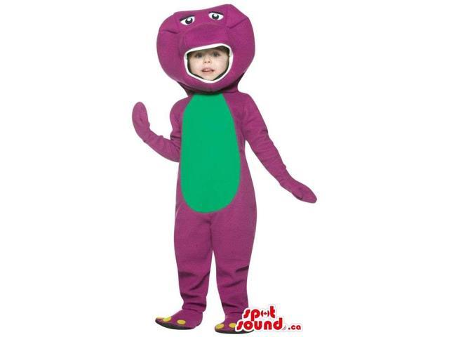 Cool Purple And Green Dinosaur Children Size Plush Costume