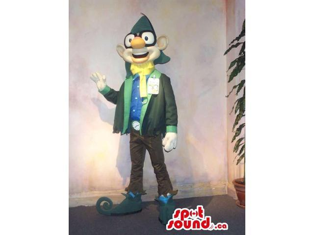 Dwarf Character Canadian SpotSound Mascot In Green Gear With Glasses