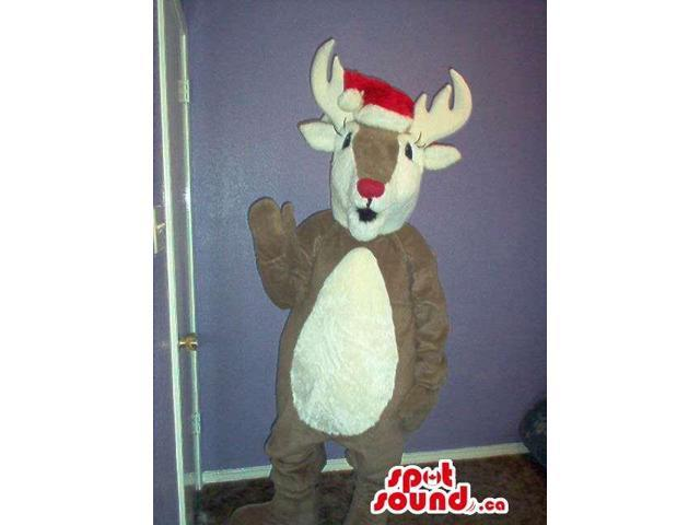 Brown Reindeer Animal Plush Canadian SpotSound Mascot With Christmas Hat
