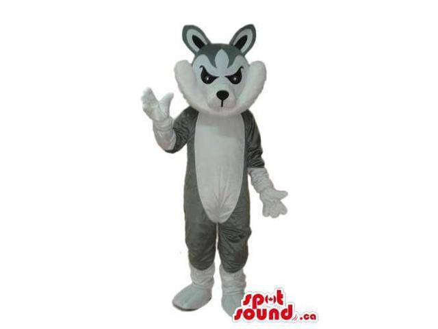 Grey Angry Rabbit Animal Plush Canadian SpotSound Mascot With White Belly