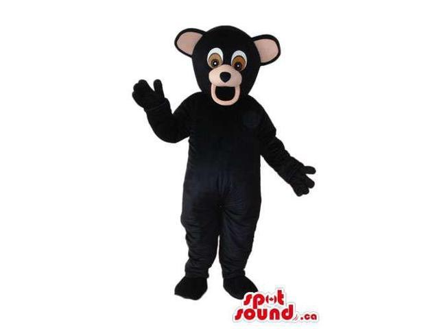 All Black Bear Forest Plush Canadian SpotSound Mascot With A Round Ears