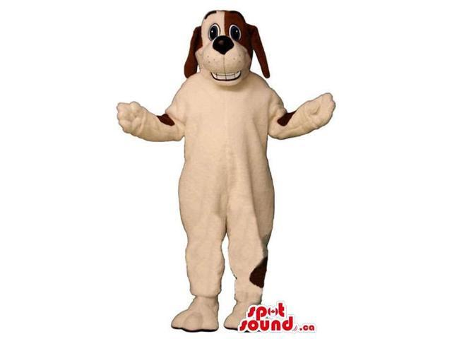 Brown And White Customised Dog Animal Canadian SpotSound Mascot With Teeth