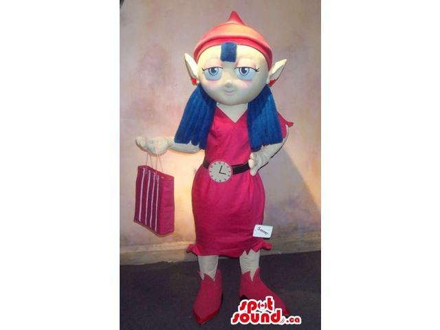 Dwarf Girl Canadian SpotSound Mascot With Blue Hair And A Shopping Bag