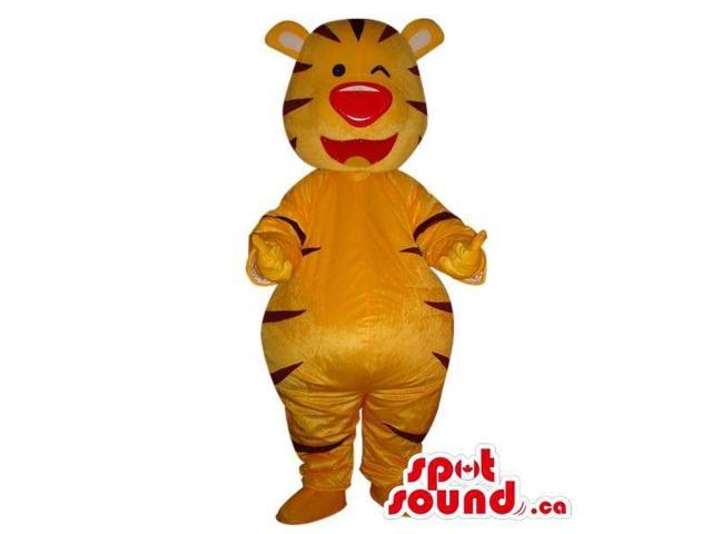 Laughing Orange Tiger Plush Canadian SpotSound Mascot With Large Red Nose