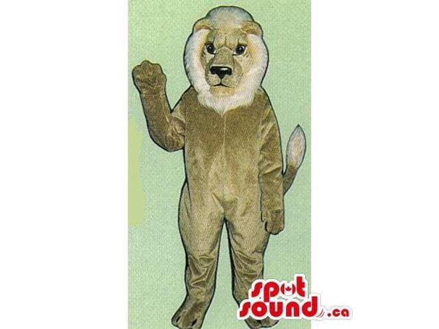 Customised All Beige Lion Canadian SpotSound Mascot With A White Beard