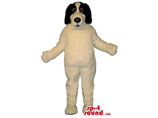 White Customised Dog Animal Canadian SpotSound Mascot With Black Ears And Face