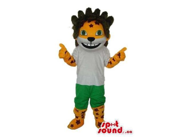 Tiger Animal Plush Canadian SpotSound Mascot With A On Its Head Dressed In Gear