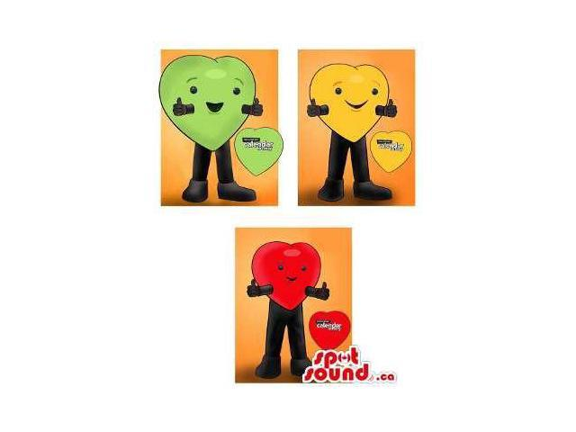 Three Heart Canadian SpotSound Mascot Drawings In Red, Green And Yellow With Logo