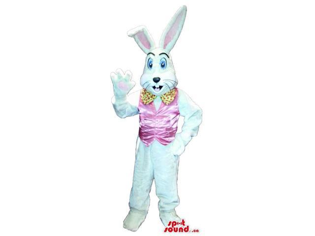 White Rabbit Plush Canadian SpotSound Mascot Dressed In A Pink Shinny Vest And Bow Tie