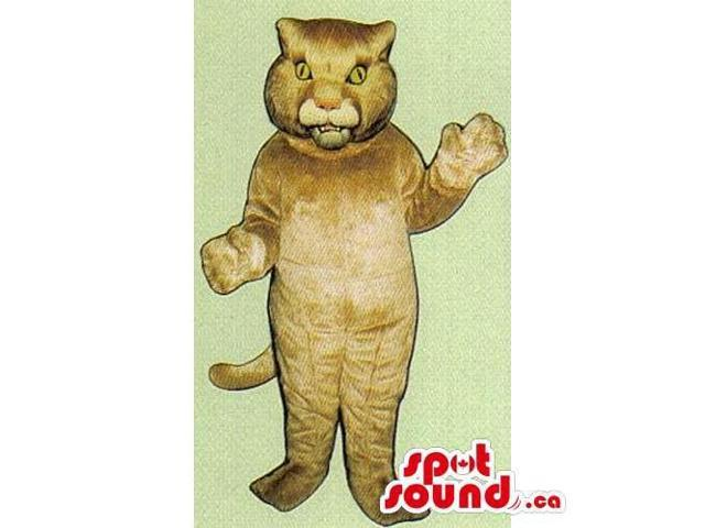 Customised Beige Wildcat Canadian SpotSound Mascot With Furious Look