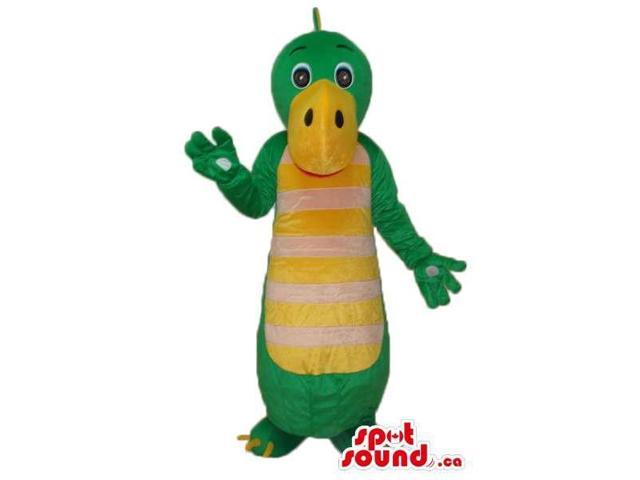 Cute Green Alligator Plush Canadian SpotSound Mascot With Yellow Belly With Stripes