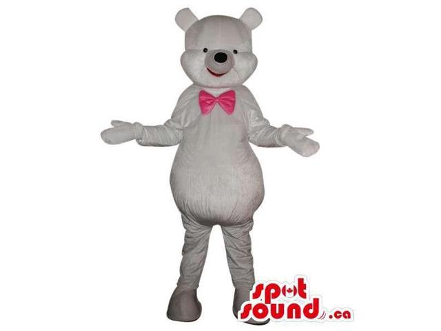All White Teddy Bear Plush Canadian SpotSound Mascot Dressed In A Pink Bow Tie
