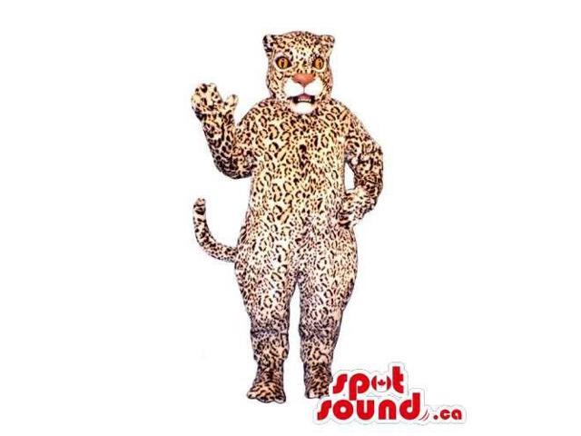 Customised Beige And Brown Leopard Canadian SpotSound Mascot With A White Mouth