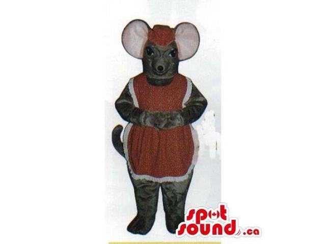 Lady Grey Mouse Plush Canadian SpotSound Mascot Dressed In A Dress And Glasses