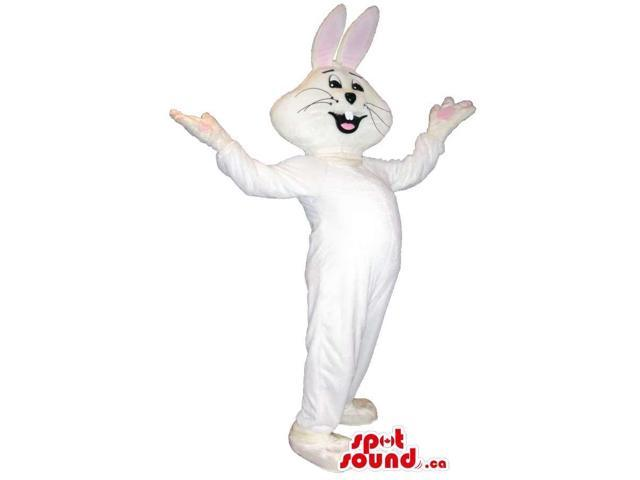 Customised Happy All White Rabbit Bunny Plush Canadian SpotSound Mascot