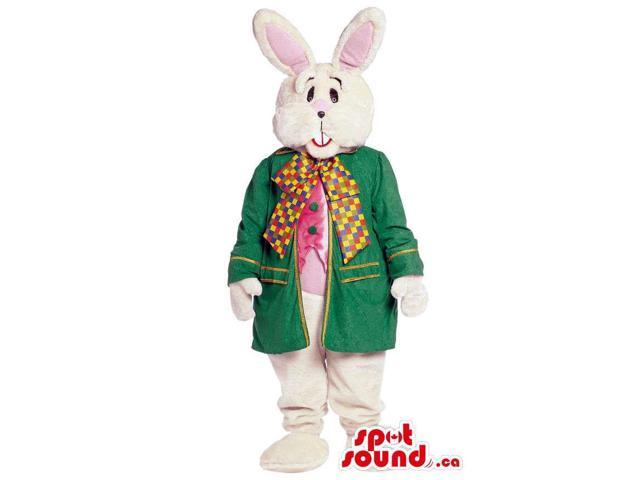 White Bunny Animal Canadian SpotSound Mascot Dressed In Elegant Clothes