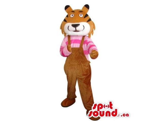 Cute Brown Tiger Plush Canadian SpotSound Mascot Dressed In Overalls And Striped Shirt