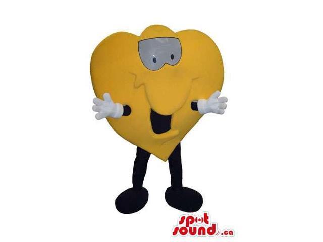 Cute Yellow Heart Plush Canadian SpotSound Mascot With A Cartoon Face