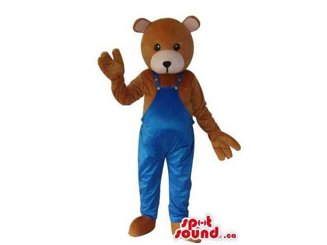 Brown Teddy Bear Plush Canadian SpotSound Mascot Dressed In Blue Overalls
