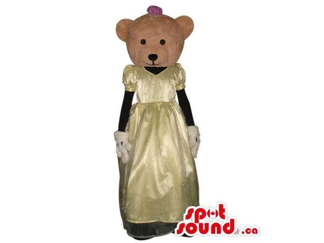 Teddy Bear Girl Animal Plush Canadian SpotSound Mascot With A Yellow Bride Dress
