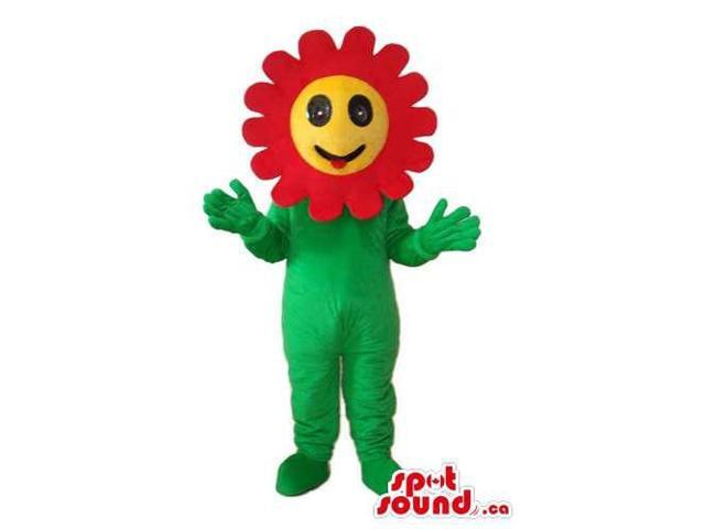 Customised Red And Yellow Flower Canadian SpotSound Mascot With Happy Face