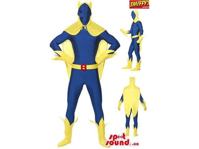 Cool Yellow And Blue Super Hero Plush Canadian SpotSound Mascot Disguise
