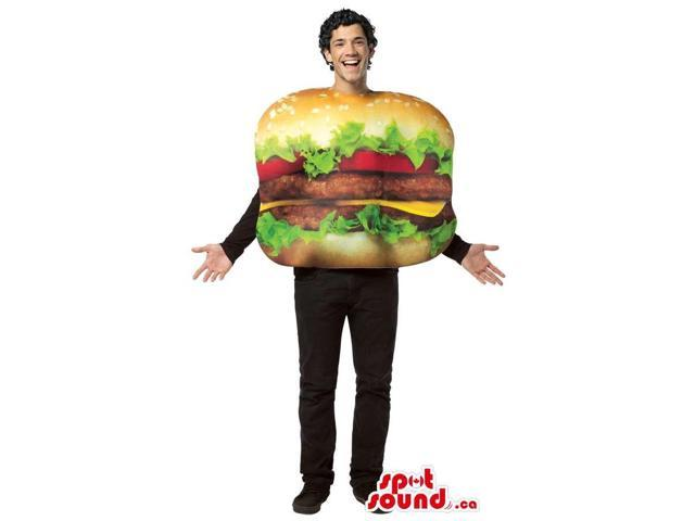 Cool Real-Looking Hamburger Adult Size Plush Costume Or Canadian SpotSound Mascot