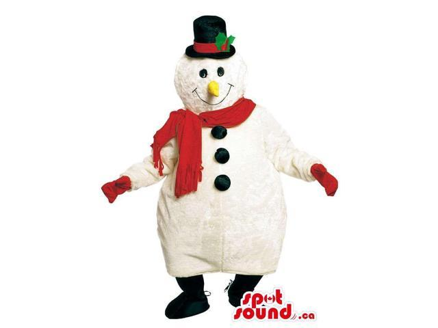 White Snowman Christmas Canadian SpotSound Mascot Dressed In Red Scarf And Top Hat