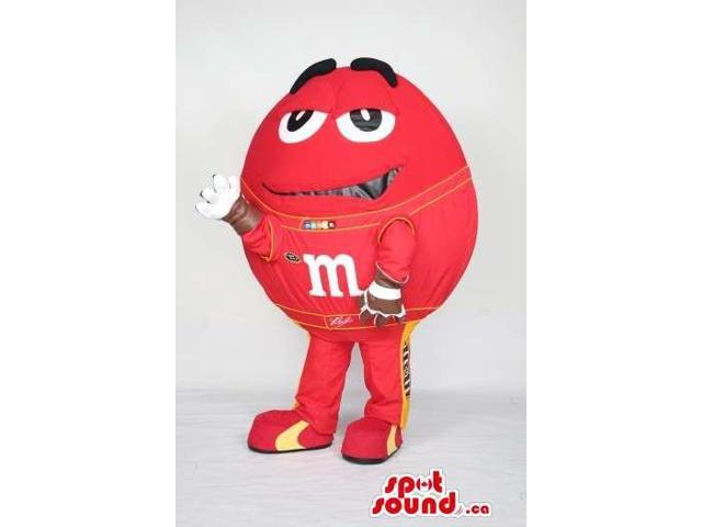 Cool Red Well-Known M&M'S Chocolate Plush Canadian SpotSound Mascot With A Logo