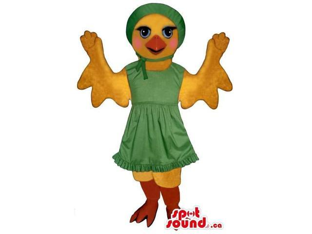 Flashy Yellow Chicken Girl Plush Canadian SpotSound Mascot Dressed In Green Dress