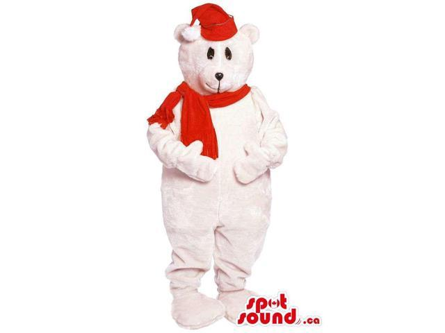 Customised White Bear Forest Canadian SpotSound Mascot With Red Scarf And Hat