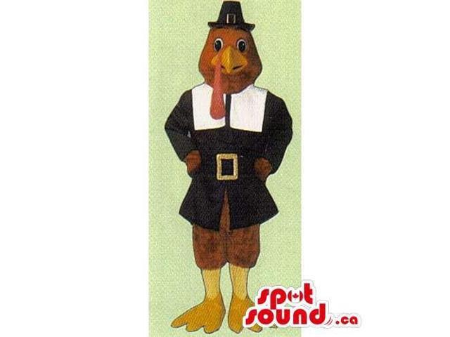 Red Turkey Canadian SpotSound Mascot With Thanksgiving Pilgrim Clothes